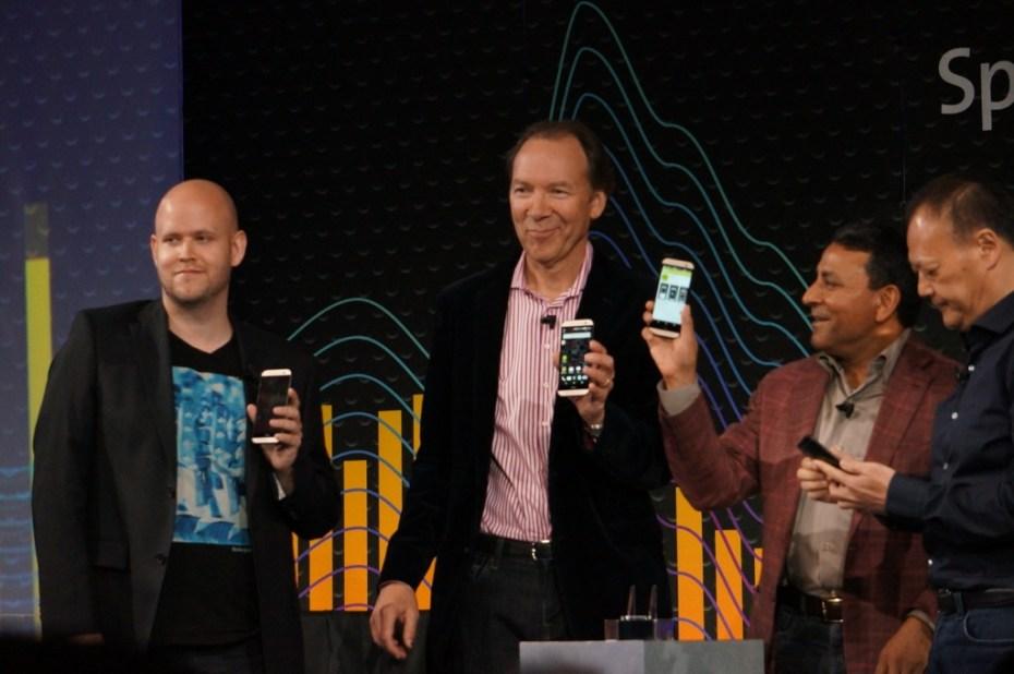 Left to right: Spotify CEO Daniel Ek; Sprint CEO Dan Hesse; Harman Kardon CEO Dinesh Paliwal; HTC CEO Peter Chou