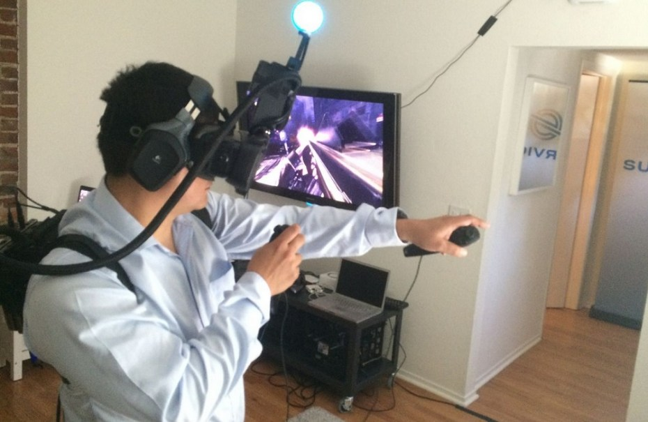 GamesBeat lead reporter Dean Takahashi demos Survios's virtual-reality tech.