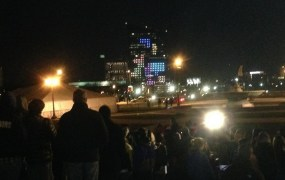 Tetris taking place on a 29-story building.