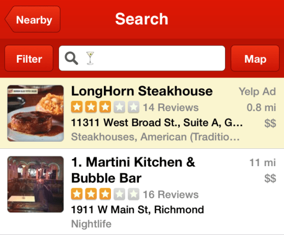 A Yelp search reveals martinis