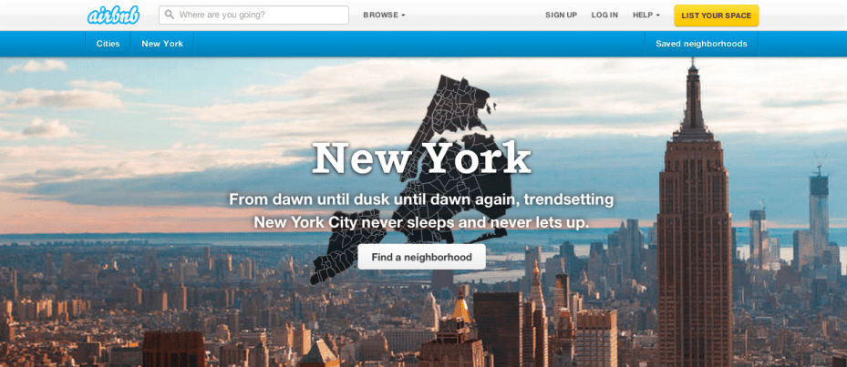 The New York City section of Airbnb