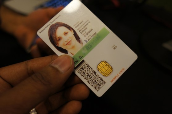 A security card with a SIM card embedded