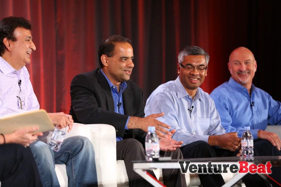 Vineet Singh of Intuit, Anil Varma of GE, Robert Sahadevan of Humana, and Jim Baer of LinkedIn, at VentureBeat's DataBeat 2013 conference in December.