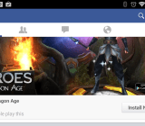 A mobile-app install advertisement on the Facebook app for Android. Maybe they know that I like Dragon Age.
