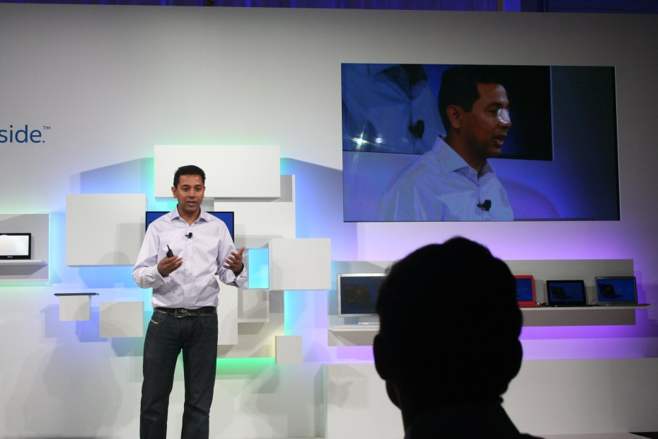 Caesar Sengupta, Google's vice president of product management, announces new Intel-based Chrome OS devices at a press event in San Francisco today.