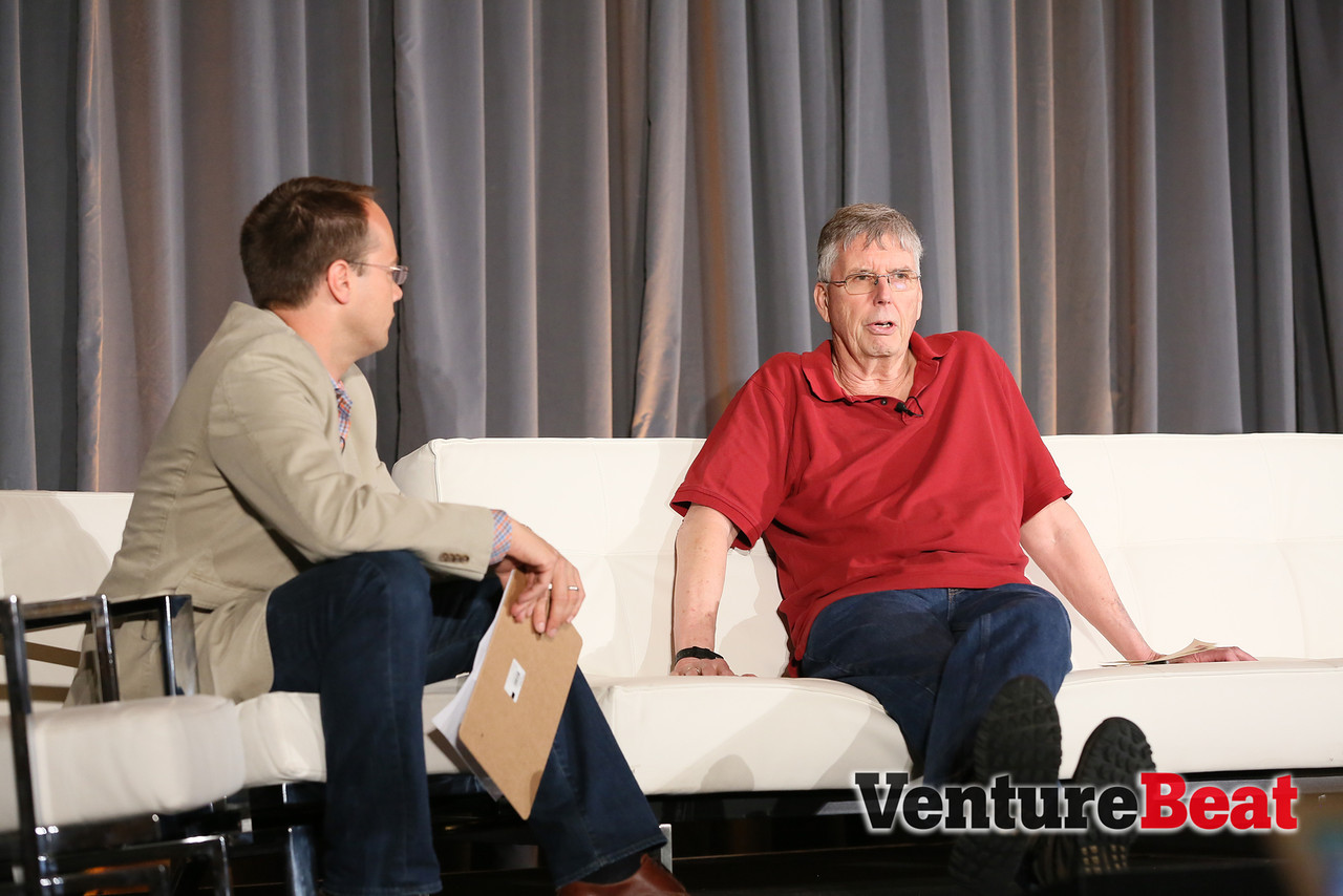 Tamr co-founder Michael Stonebraker, right, speaks at VentureBeat's DataBeat conference in San Francisco in May 2014.