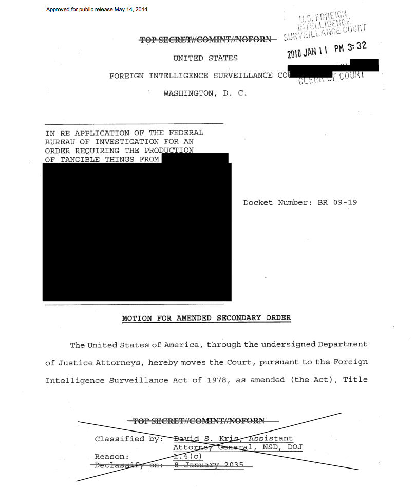 One of the newly released FISA documents