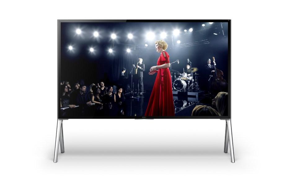 Sony's XBR X950B Series 4K Ultra HD TV on a floor stand.