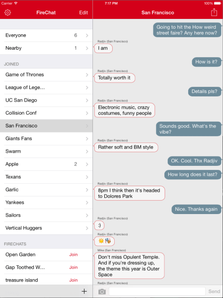 The New FireChat - live and anonymous discussions - iPad