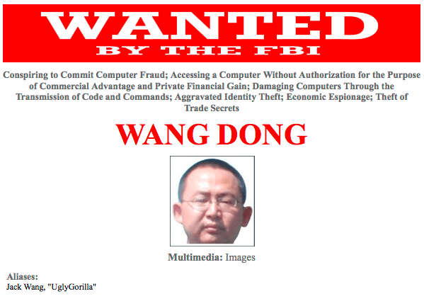 Chinese army officer Wang Dong, now wanted by the FBI