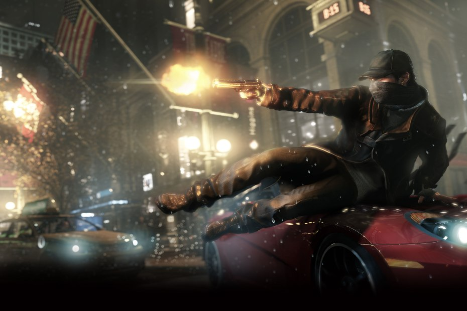 Watch Dogs hero Aiden Pearce jumping over a car.