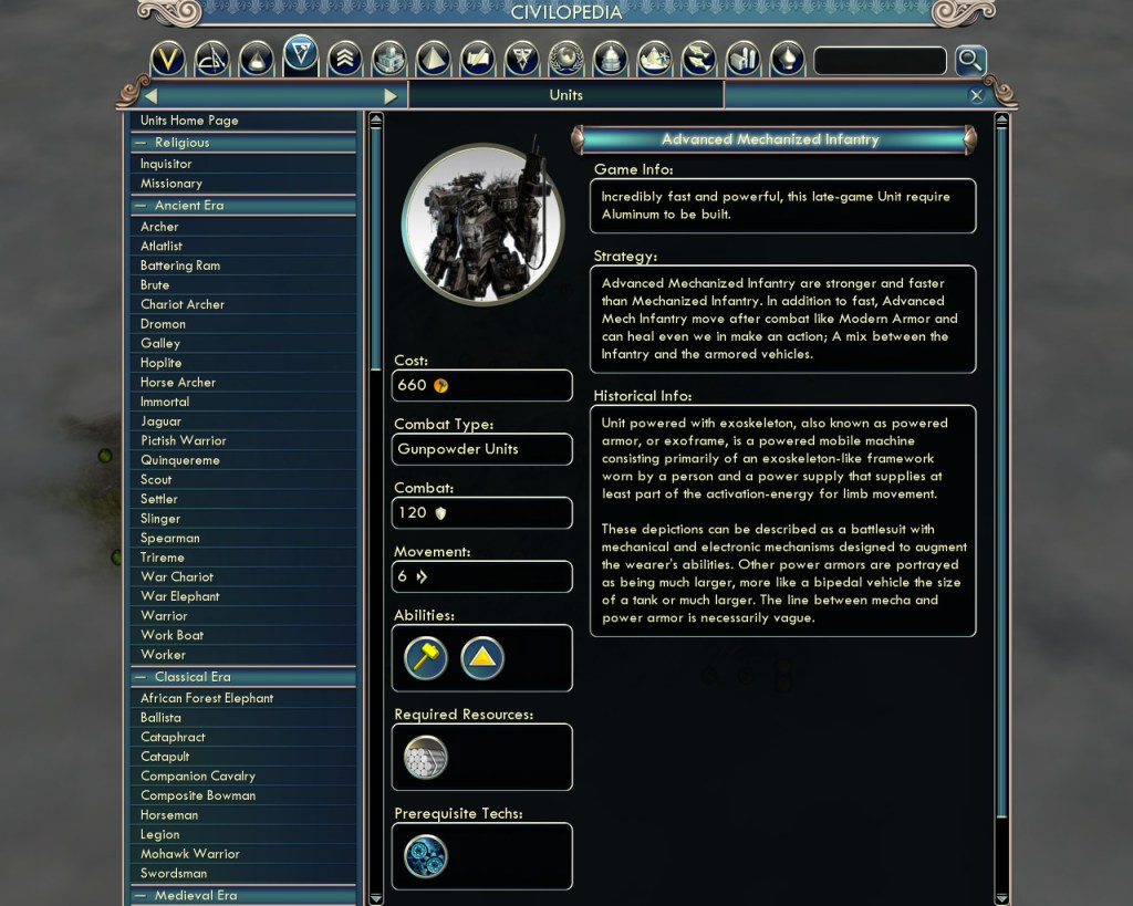 The super mech in the Civ V mod Beyond the Future.