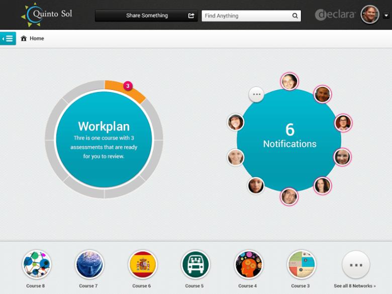 A screenshot of education startup Declara's social-driven learning network.
