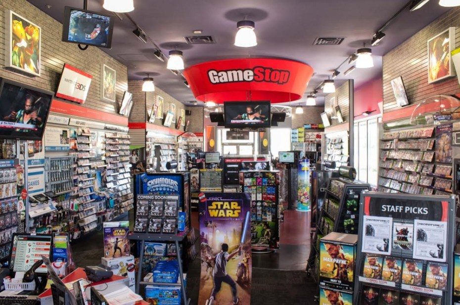 Inside a GameStop store.