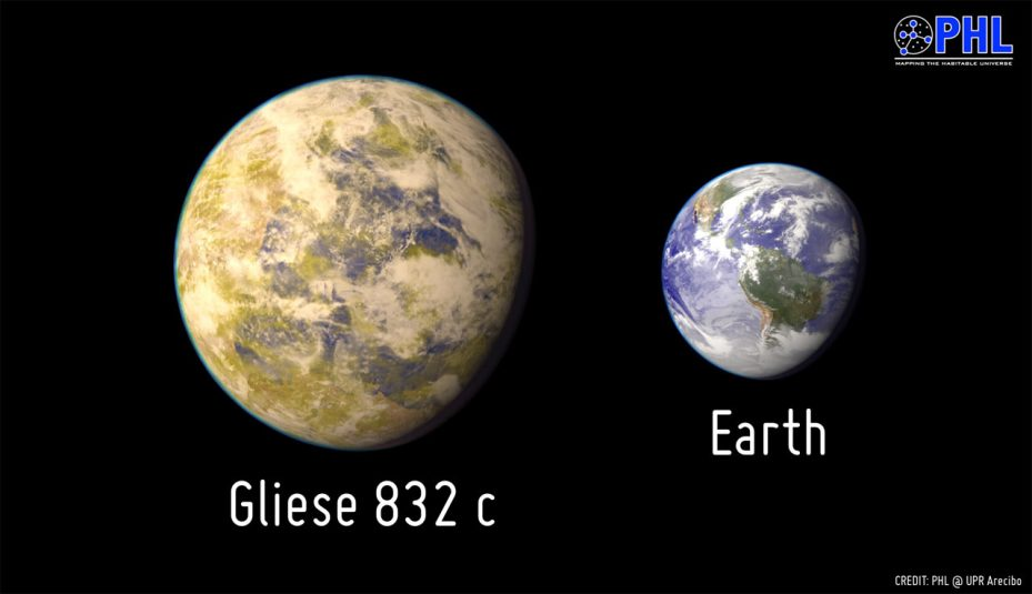 Gliese 832c compared to Earth