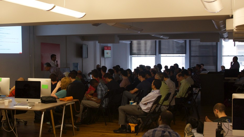 Eager developers attending a Swift class in NYC Wednesday