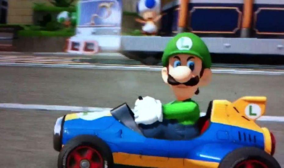 Luigi giving his menacing look to other racers in Mario Kart 8.