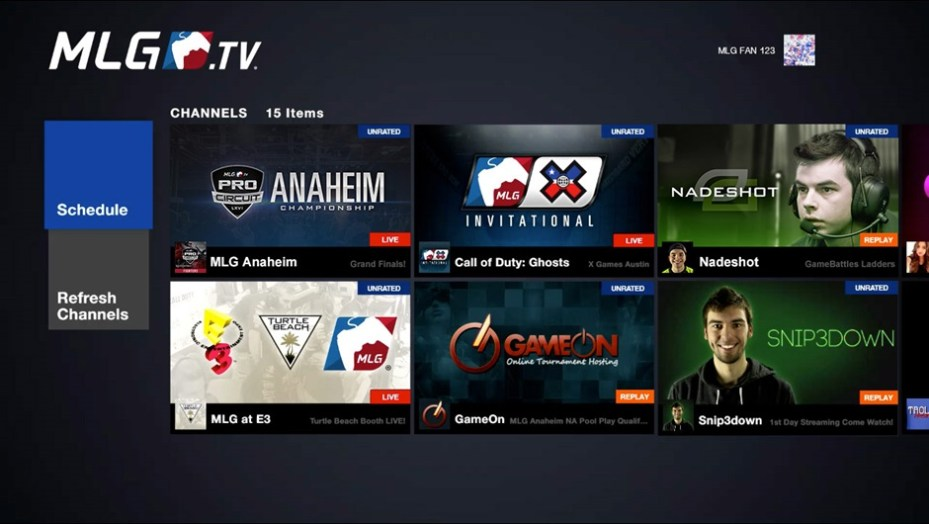 The MLG app running on Xbox One.