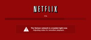 The new in-player notifications Netflix is displaying for Verizon Internet subscribers experiencing streaming quality issues.