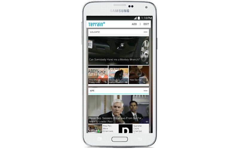 """Terrain uses a """"card"""" system to organize phone content."""
