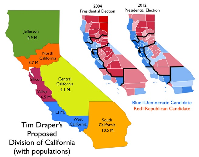 Tim Draper's proposed Six Californias