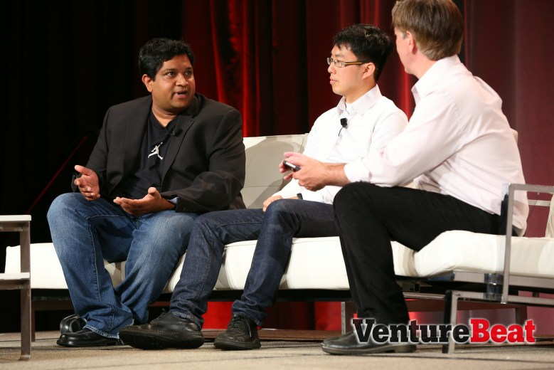 AppDynamics co-founder Bhaskar Sunkara, left, at VentureBeat's MobileBeat conference in San Francisco on May 9.