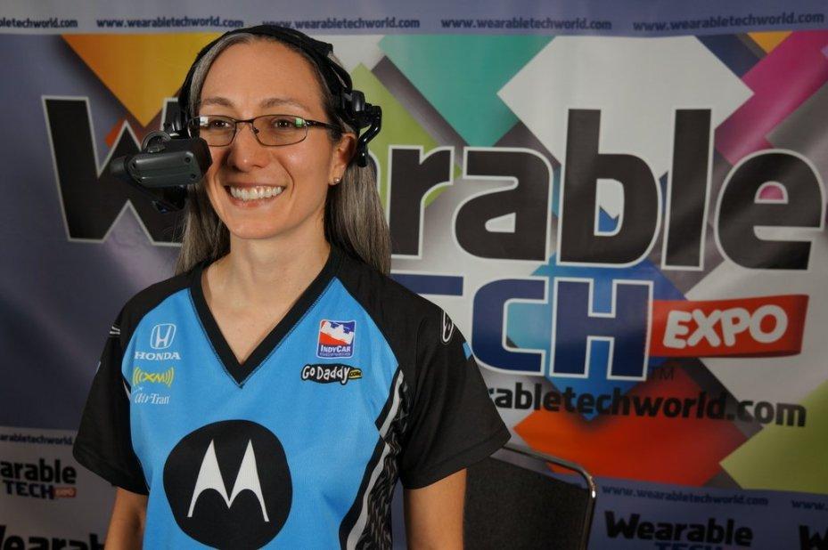 Motorola Solutions' senior maverick Nicole Tricoukes wearing an HC1 headset computer.
