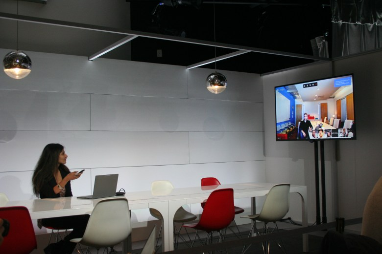Google's Chromebox for Meetings in action during a demo at Google headquarters.