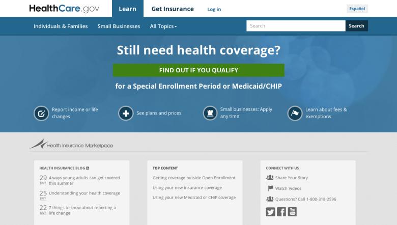 A screen shot of Healthcare.gov.
