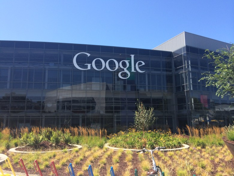 The main campus of the Googleplex has reflective-glass buildings.
