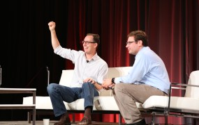 LinkedIn's Joff Redfern gives a shout-out to LinkedIn users, at MobileBeat, July 8, 2014. On the right: Cnet's Ian Sherr.