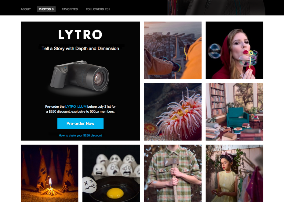 The new Lytro section on 500px