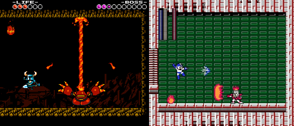 Shovel Knight vs. Mega Man.