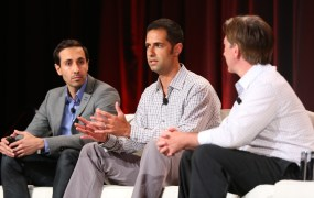 Living Social product VP Mike Bidgoli; Apploving co-founder and CEO Adam Foroughi; VentureBeat writer Mark Sullivan at MobileBeat 2014