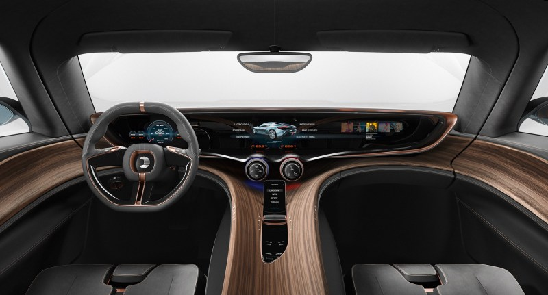 The cockpit of the Quant does not lack for luxury.