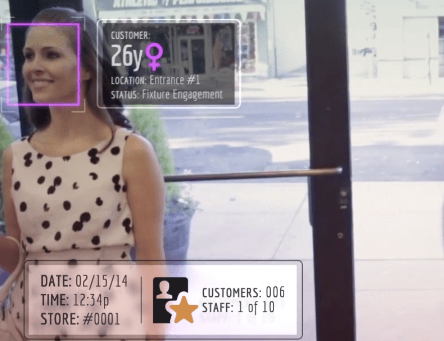 A RetailNext marketing video shows a visualization of how retailers can identify and track likely shoppers.
