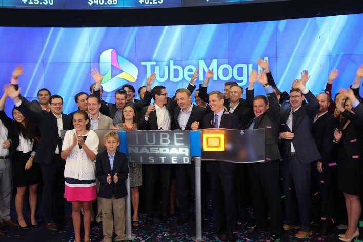 TubeMogul celebrates after launching their IPO Friday. Brett Wilson in the center.
