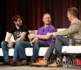 Yo! founders Moshe Hogeg and Or Arbel speak with VentureBeat's Dylan Tweney (L-R).