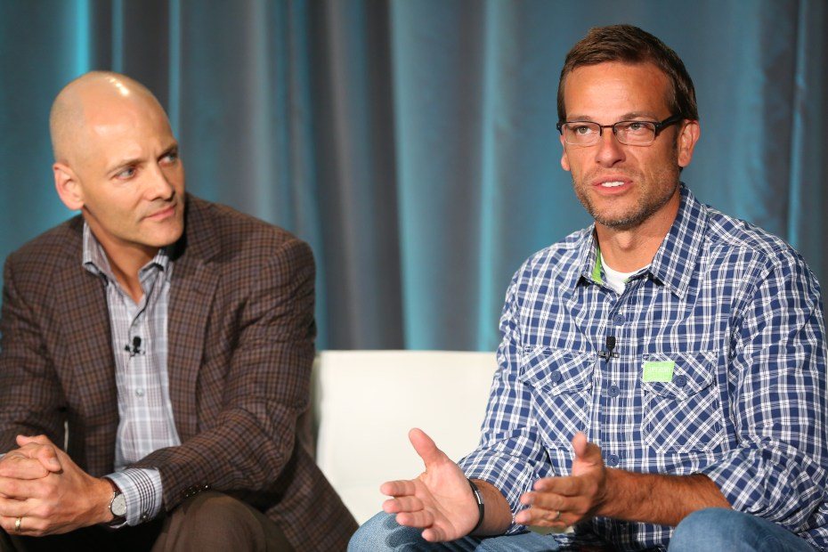 Michael Debnar, right, the leader of 7-Eleven's Innovation Team and founder at 7-Ventures, speaks at VentureBeat's 2014 GrowthBeat conference in San Francisco on Aug. 6.