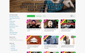 Fiverr category page Music and Audio