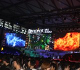 Tencent's booth had no show girls. But its might as the world's largest game company was evident.