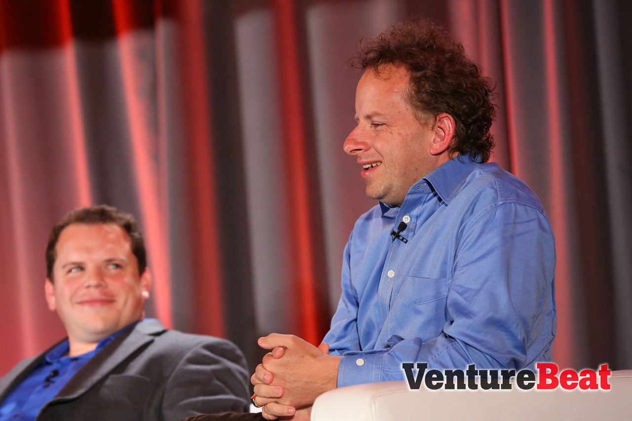 Jeremy Howard, right, founder and chief executive of Enlitic, at VentureBeat's 2013 DataBeat conference.