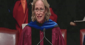 Kathryn Gould speaking at the 2014 University of Chicago commencement.