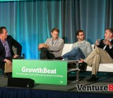 Appboy's Marc Parrish, left, interviews Adobe's Justin Merickel, Salesforce.com's Gordon Evans, and Oracle's Kevin Akeroyd at VentureBeat's 2014 GrowthBeat conference in San Francisco on Aug. 6.