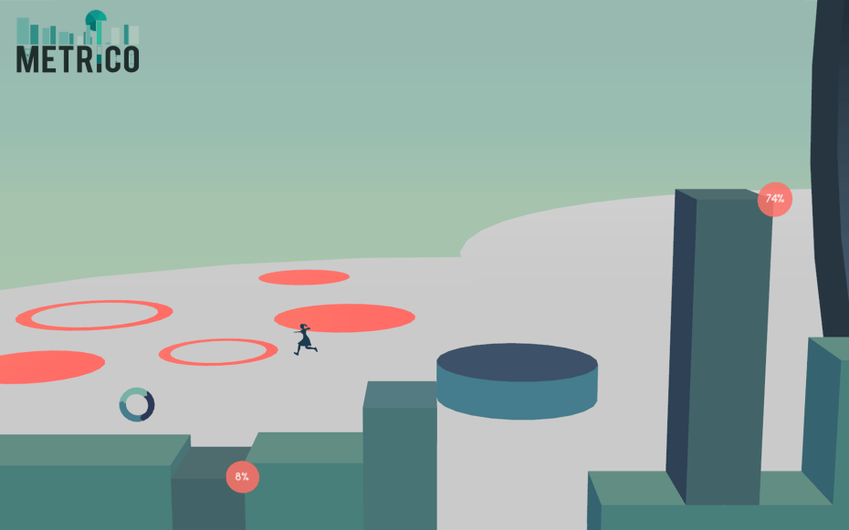 Metrico's platforms rise and fall based on specific, simple player actions.