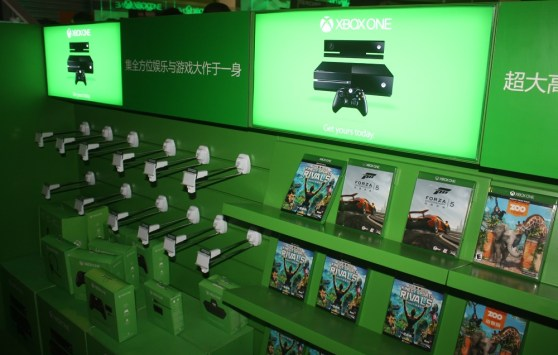Xbox One retail shelf at ChinaJoy booth.