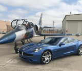 The 2012 Fisker Karma, with a friendly jet.
