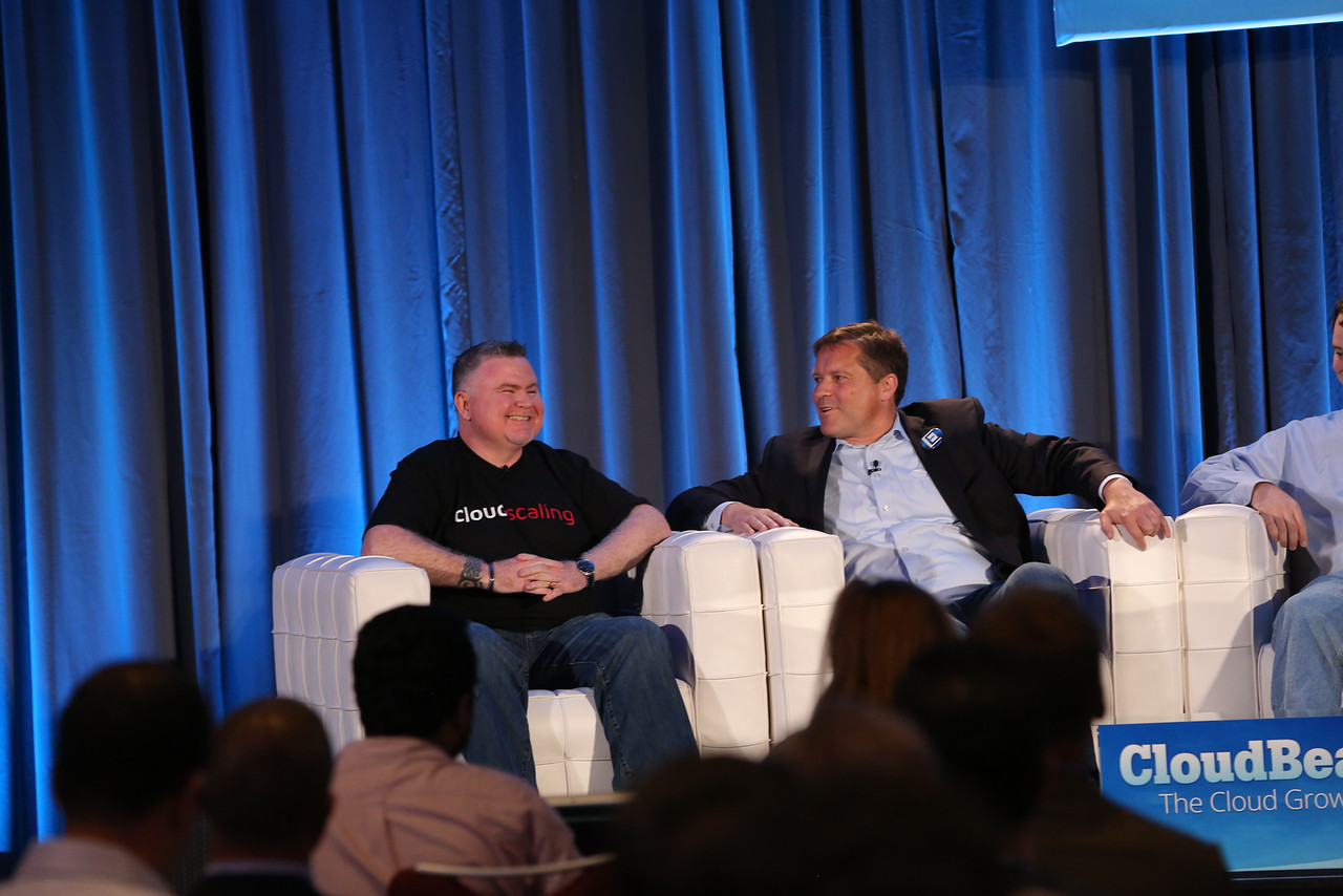 Eucalyptus chief executive Marten Mickos, right, at VentureBeat's 2013 CloudBeat conference in San Francisco.