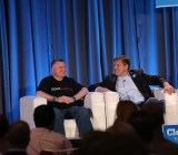 Eucalyptus chief executive Marten Mickos, right, at VentureBeat's 2013 CloudBeat conference in San Francisco.