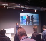 Joe Belfiore gives reporters a first look at the Windows 10  start menu.